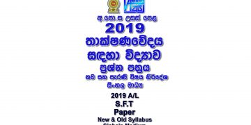 2019 A/L SFT Paper Sinhala Medium part I mcq paper part II Essay & Structured al Sciense for Technology Past Papers
