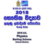 2018 a/l Physics marking scheme sinhala medium Physics past papers mcq answers sheet Essay & Structured