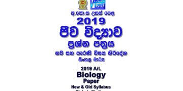 2019 A/L Biology Paper sinhala medium part I mcq part II Essay & Structured Bio al Biology Past Papers