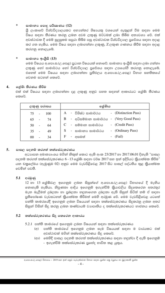 2019 A/L Grading System table in srilnaka