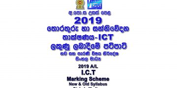2019 A/L ICT Marking Scheme Sinhala medium New and Old Syllabus ICT past papers mcq answers sheet Essay & Structured