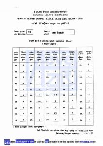 2019 A/L BIOLOGY MCQ ANSWER SHEET OLD SYLLABUS BIOLOGY Marking Schemes
