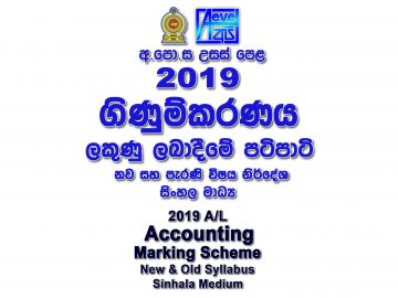 2019 A/L Accounting Marking Scheme Sinhala medium New and Old Syllabus Accounting mcq answers sheet Essay & Structured